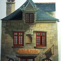 """Etude documentaire de la facade du """"Réveil Matin"""" un bar de Landerneau. Gouache sur format raisin ( 50x65cm )"""