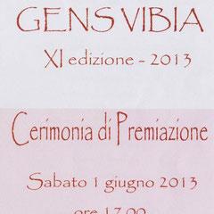 XI Premio Letterario Nazionale GENS VIBIA 2013, Marsciano.
