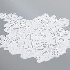 """夢に落ちる瞬間""""milk on a silver plat""""(210×297mm)NO.   / SP-13-4"""