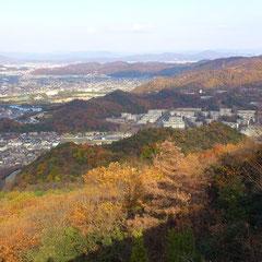 右に見えてる山の道路が種松山の下り