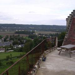 la vue de la terrasse du gîte de groupe