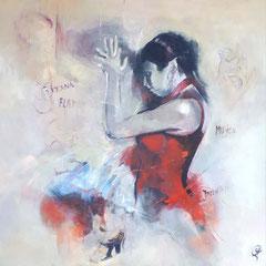 Alma del flamenco  100x100 cm