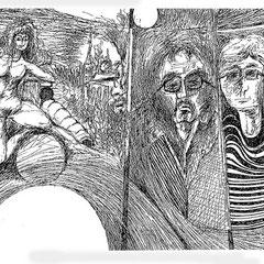 SW-Serie , Faserstift, Tinte auf Papier, 21 x 10,5 cm