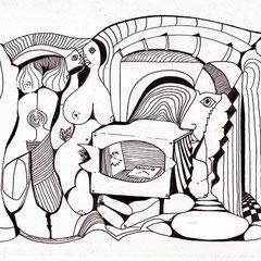 SW-Serie , Faserstift, Tinte auf Papier, 29,7 x 21 cm