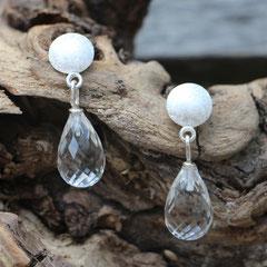 Ohrstecker Bergkristallpampeln, 925er Silber
