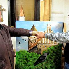 Klaus Steinbrenner wird von Dietmar Sellner zu seinem Dohlenbild beglückwünscht