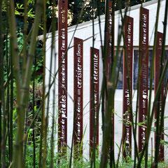 Aperçu de Totem-Haïkus en acier brut oxydés à l'Atelier-Jardin, Montlignon. Mai 2017