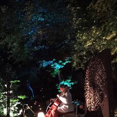 lioudmila Kohneh chahri, Concert du 03 juin 2017 & Prototype Originel XL N°0 du Mandala du Verbe Aimer mis en lumière par Thierry Vannereau - Home électricité à l'Atelier-Jardin, Montlignon. Mai 2017