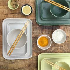 eckige Teller/Tabletts 2 Größen, Bowls klein, mini und minifutzi