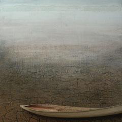 """Hope"", Acryl-/Pigmente, Assemblage mit Naturmaterial auf Holzkorpus 110 x 75 cm"