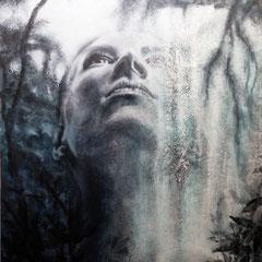 """""""Eins mit der Natur"""", Serie """"ungeschminkt"""", Acryl auf Leinwand, 120 x 80 x 4 cm"""