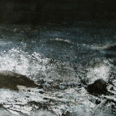 """""""Nachts am Meer"""", Acry-/Ölfarben auf Holztafel, 72 x 152 cm, Rahmen weiß"""