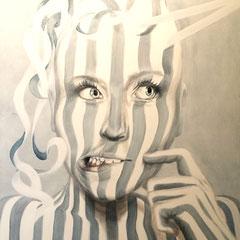 """""""Abgestreift"""", Serie """"ungeschminkt"""", Acryl auf Leinwand, 120 x 80 x 4 cm"""
