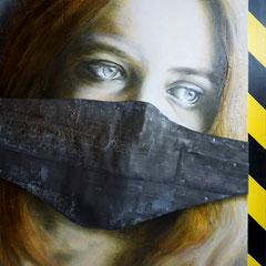 """Vernunft bleischwer"", Dyptichon, Acryl-Öl auf Holzkorpus, Maske aus Bleiband, 80 x 60 cm"