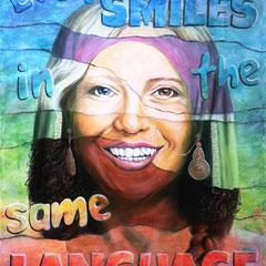 """Everyone smiles in the same Language"", Serie ""fremd : vertraut"", Acryl-/Ölfarbe auf Leinwand, 120 x 80 x 4 cm"