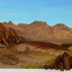 """""""Caldera las Canadas del Teide"""", Vulkankrater nachempfunden auf Holztafel, collagiert mit Blitz-Holz und Pigmenten"""