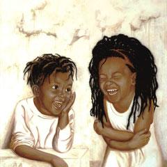 """Happy"", Ölmalerei, Frisuren-Applikation, Leinwand 120 x 100 x 4 cm"