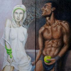 """Eva & Adam"", Dyptichon, Serie ""fremd : vertraut"", Acryl auf Leinwand, je 140 x 70 cm"