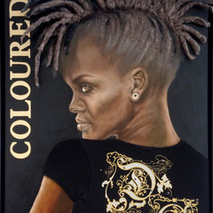 """""""Tough Lady"""", Serie """"fremd : vertraut"""", Ölmalerei auf Leinwand, Textiles, applizierte Frisur, 80 x 60 cm, Schattenfugenrahmen schwarz"""
