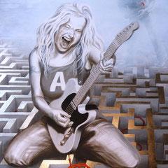 """""""Highway to Hell""""; Acryl/Öl/Schlagmetall auf Leinwand 150 x 100 x4 cm"""