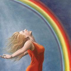 """Ich bin hier, ich bin frei!"", Acryl-/Ölmalerei, Leinwand 120 x 120 x 4 cm"
