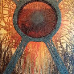 """""""Zentriert-X"""", Bitumen-Mischtechnik auf Leinwand, Ausschnitt, glänzender Hintergrund, 80 x 60 x 4 cm"""