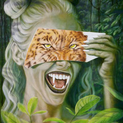 """""""Leo meets Jane"""", Serie """"frei wild"""", Acryl-/Ölfarbe auf Leinwand, 120 x 80 x 4 cm"""