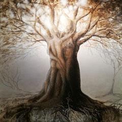 """""""Lebensbaum"""", Bitumen-Mischtechnik auf Leinwand, 150 x 120 x 4 cm"""