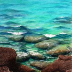 """""""Stille Stunden am Meer"""", grobe Spachtelmassen und lasierende Ölmalerei auf Leinwand, 150 x 70 cm"""