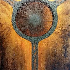 """""""Zentriert-Y"""", Bitumen-Mischtechnik auf Leinwand, Ausschnitt, glänzender Hintergrund, 80 x 60 x 4 cm"""