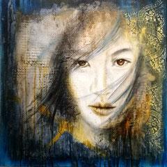 """""""Augenblick"""", Acryl und Spachtelmasse auf Leinwand, 80 x80 cm"""
