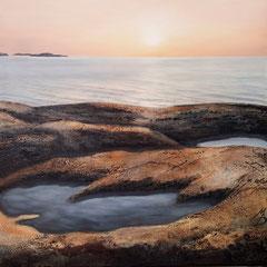 """""""Wasser schleift Stein"""", Bitumen-Mischtechnik auf Leinwand, 120 x 120 x 4 cm"""