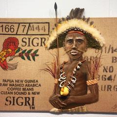 """""""Tauschgeschäft"""", Serie """"frei wild"""", Ölmalerei, Assemblage auf Kaffeesack mit Naturmaterialien, halbplastisch, 80 x 120 cm"""