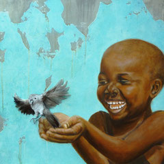 """Fly, little Bird!"", Acryl-/Ölmalerei, echte Federn, Leinwand 60 x 80 cm"