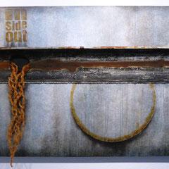 """""""Inside out"""", Objekt mit alter Dachrinne und Naturfasern auf Holzkorpus, 90 x 140 x 5 cm"""