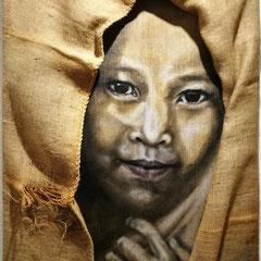 """""""Einfach glücklich sein"""", Serie """"Einfach sein"""", Malerei auf Keilrahmen, Assemblage mit Jutesack, 80 x 60 cm"""