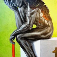 """alles gegeben"", Acryl/Öl/Blattmetall auf Leinwand, 100 x 70 cm"