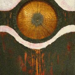 """""""Zentriert-U"""", Bitumen-Mischtechnik auf Leinwand, Ausschnitt, glänzender Hintergrund, 80 x 60 x 4 cm"""