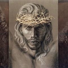 """""""Liebe ist die Botschaft"""", Kreide/Kohle auf Stoff, Acrylspachtelung mit Asche, Dornenkrone, 200 x 70 cm"""