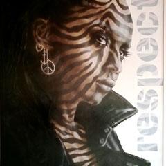 """Living in the 21st century!"", Acryl-/Ölfarbe auf MDF-Platte 98 x 78 cm, Rahmen lackiert"