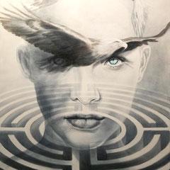 """""""Überblick"""", Serie """"ungeschminkt"""", Acryl auf Leinwand, 120 x 80 x 4 cm"""