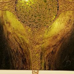 """""""Zentriert grün"""", Bitumen-Mischtechnik auf Leinwand, Ausschnitt, glänzender Hintergrund, 80 x 60 x 4 cm"""