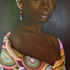"""""""African Beauty"""", Assemblage auf MDF-Platte, Ölgemälde mit Stoff und Perlen, 130 x 54 cm, Rahmen schwarzbraun"""