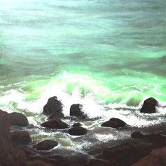 """Brandung"", Acry-/Ölfarben auf Leinwand, 120 x 100 x4 cm"