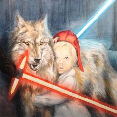 """Die letzten Wölfe"", Serie ""fremd : vertraut"", Acryl-/Ölmalerei, Leinwand 100 x 100 x 4 cm"