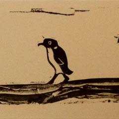J'ai vu une image, d'après G. Brissac, Moi j'attends de voir passer un pingouin, linogravure et tampon, tirage en 18 expl.