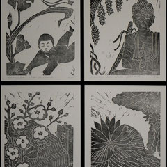 Sei Shonagon, Notes de chevet  4 linogravures, tirage 15 expl.