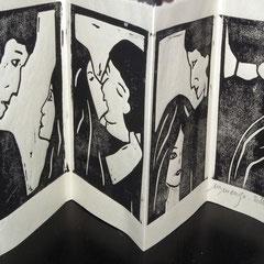 Les histoires d'amour finissent mal en général...  linogravure, tirage 25 expl.