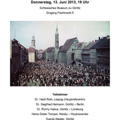 Podiumsdiskussion am 13. Juni 2013, 19 Uhr