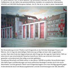 Vortragsankündigung des Kulturbüros Görlitz
